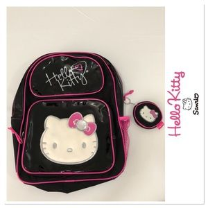 0ae0574fefa0 Hello Kitty backpack black patent with coin purse